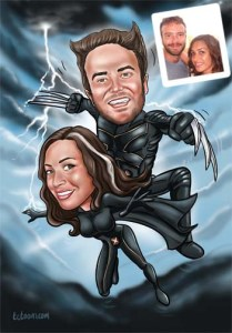 caricature_cartoon_wolverine_storm_portrait